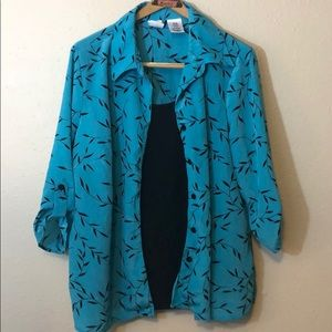 Just My Size Blue Black Blouse Size 2XL